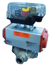 Pneumatic operated 3-way ball valve DN25KF, without position indicator, with solenoid