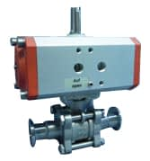 Pneumatic operated ball valve DN40KF, with position indicator, without solenoid