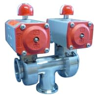 Pneumatic operated 3-way butterfly valve DN40KF, with position indicator, without solenoid