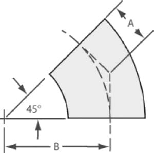 45º radius elbow tube 3/4