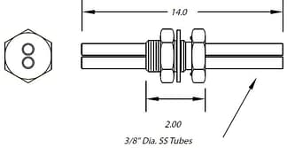 1 inch baseplate feedthrough dual tubes 3/8