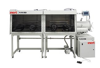 PureLab HE 4 gloves dual module Inert work station - 2500mm long x 900mm deep. Gas purifier sold seperately