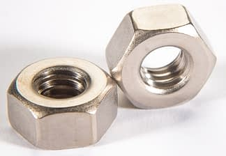 Metric non-vented hex nut, A4-70 SST, Silver plated, M5 x .08mm
