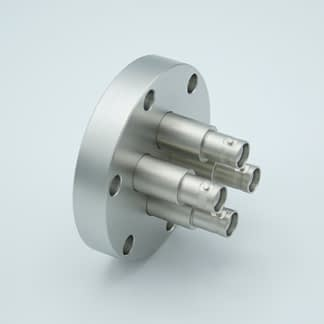4 of grounded shield recessed SHV-5 Amp 5000 VDC feedthrough, air side connector included DN40CF
