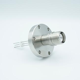 4 pin MS high voltage feedthrough according MIL-C-5015, Molybdenum conductors, DN40CF flange
