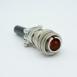 2 pin MS circular connector, 12000 Volts, 7.5 Amp per pin, accepts 0.040