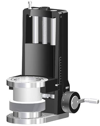 Linear feedthrough with DN100CF tapped flanges. Manual operated with travel: 600mm