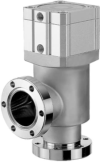 Pneumatic operated, bellow sealed angle valve, single acting, including solenoid, DN63CF